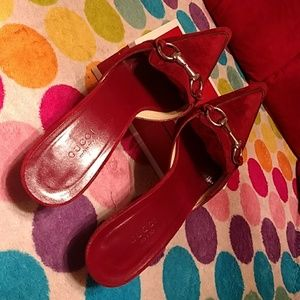 Authentic Gucci suede burgundy mules, 8B